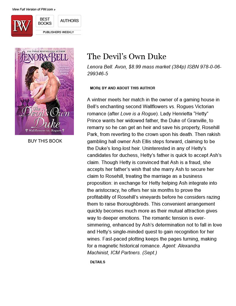 Publishers Weekly Review of The Devil's Own Duke
